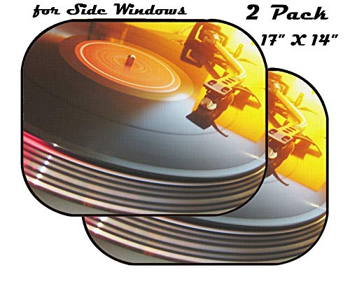 MSD Car Sun Shade for Side Window - UV Protector for Baby and Pet - Block Sunlight - Image of Vinyl Music Record Turntable Disco Sound Retro Audio disc Player Black Vintage dj Party Needle