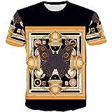OrchidAmor 2019 Men's Funny 3D Printing Fitness Elastic Short Sleeve T-Shirt Top Blouse Black