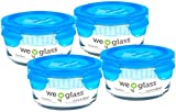 Wean Green Lunch Bowl 12 Ounce / 355 Milliliter Leak-Proof Durable Glass Bowls - Blueberry (Set of 4)