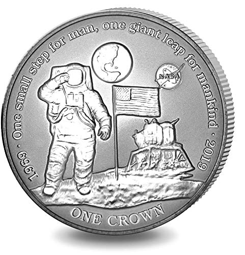 FIRST MAN ON MOON COIN - 50th Anniversary of Apollo 11 - TITANIUM COIN with NASA logo in Box with Certificate of Authenticity - 2019 Ascension Island 1 Crown - SMALL MINTAGE OF ONLY 7500 PIECES