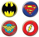 """Ata-Boy DC Comics Originals Justice League Logos Assortment #3 Set of 4 1.25"""" Collectible Buttons"""