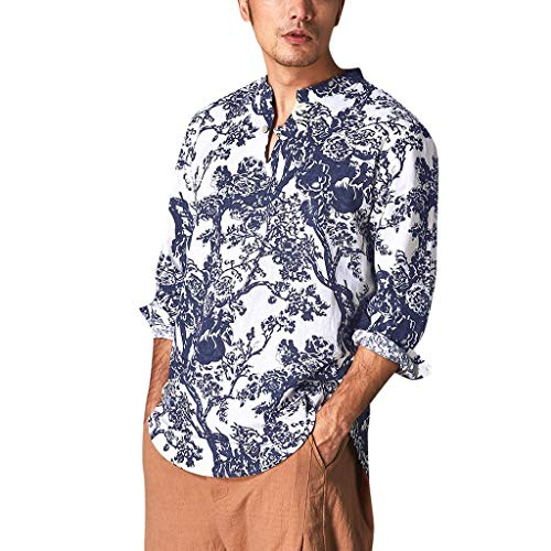 Men's Relaxed-Fit Silk/Linen Tropical Leaves Jacquard Shirt Hawaiian Flower Print Casual Button Down Short Sleeve Shirt ()