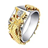 Tuu Men's Rings,Dragon Pattern Rings Creative Diamond Jewellery for Men and Women Gifts (7, Gold)
