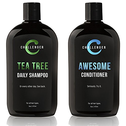 New Tea Tree Shampoo & Awesome Conditioner by Challenger - 16oz Combo - Premium Argan Oil, Biotin, Keratin, Vitamin C, Vitamin D, Aloe, Shea, Coconut Oil, & No Sulfates & Gluten Free. (2 Mo. Supply)