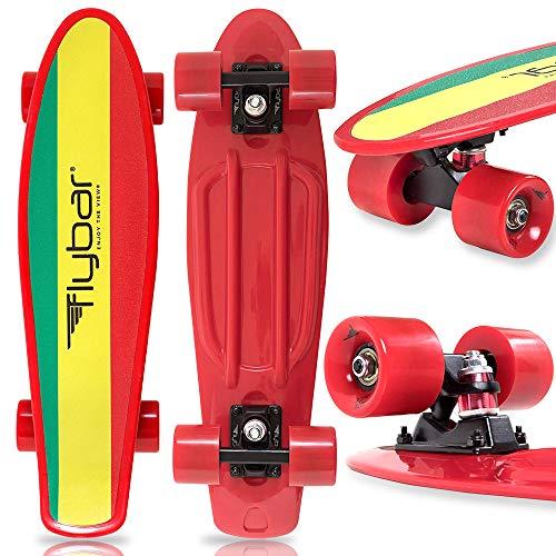 Flybar 22 Inch Complete Plastic Grip Tape Cruiser Skateboard Custom Non-Slip Deck Multiple Colors (Marly Red)