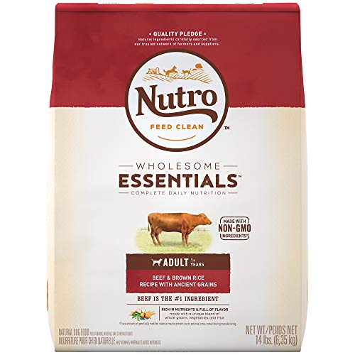 NUTRO WHOLESOME ESSENTIALS Natural Adult Dry Dog Food Beef & Brown Rice Recipe With Ancient Grains, 14 lb. Bag