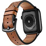 Mifa Leather Band Compatible with Apple Watch 4 44mm 42mm iwatch Series 1 2 3 Nike Sports Replacement Strap Bands Dressy Classic Buckle Vintage case Black Stainless Steel Adapters (44mm/42mm, Brown)