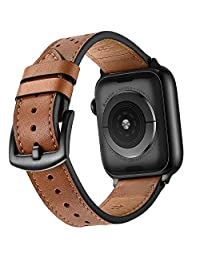 Mifa Premium Leather Band Compatible with Apple Watch 4 44mm 42mm Bands iwatch Series 1 2 3 Replacement Strap Dressy Classic Buckle Vintage case Band with Black Stainless Steel Adapters (42mm, Brown)
