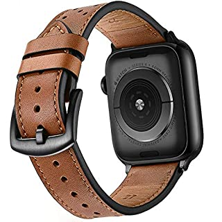 Mifa Leather Band Compatible with Apple Watch 5 4 44mm 42mm iwatch Series 1 2 3 Nike Sports Replacement Strap Bands Dressy Classic Buckle Vintage case Black Stainless Steel Adapters (44mm/42mm, Brown)