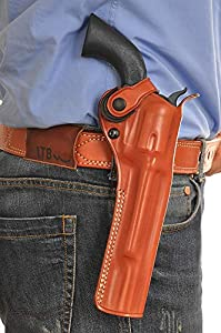"Premium Leather Paddle OWB Revolver Holster with Retention Strap Fits Ruger Single Six Series 22 LR/ 22 WMR 6.5"" BBL, Right Hand Draw, Brown Color #1452#"