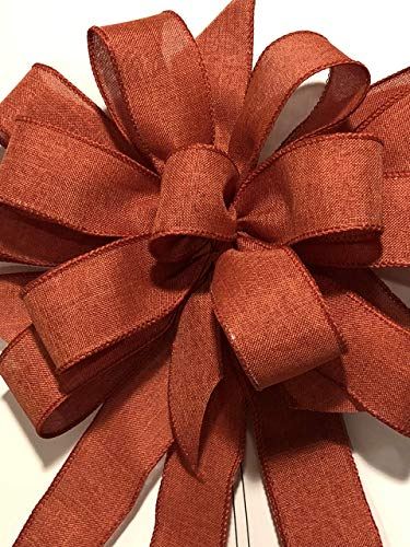 Burnt orange Fall Wreath bow. Rustic fall decor. Bows for wreaths. Rustic Fall bows Rustic fall ribbon Fall decorations. Autumn decor. Halloween decor -