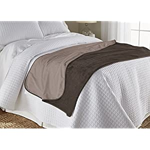 "Mambe 100% Waterproof Silky Soft Throw for Dogs, Cats, and People (Large 60""x 84"", Chocolate-Cappuccino)"
