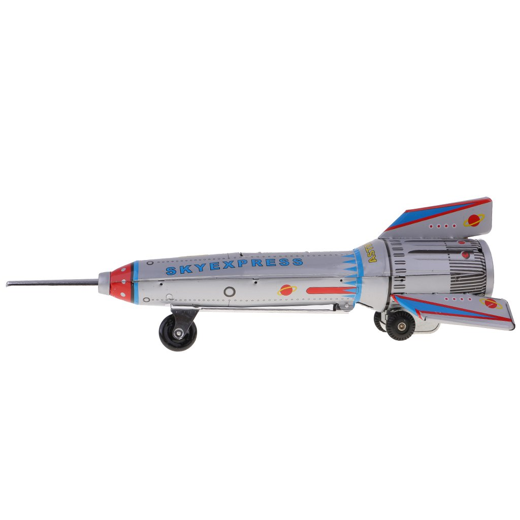 MagiDeal Retro Rocket Spaceship Model Clockwork Wind Up Tin Toy Collectible Gifts