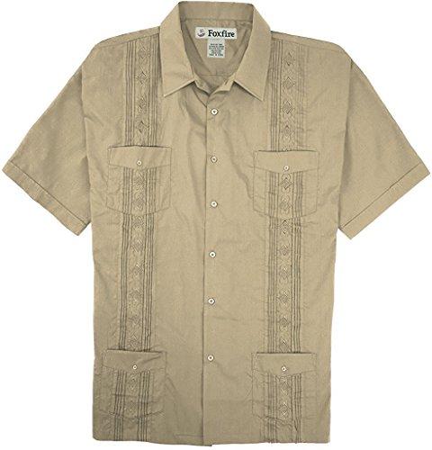 Pleated Guayabera (Foxfire Short Sleeve Embroidered Guayabera Shirt, Khaki, XXLarge)