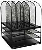 Safco Products Onyx Mesh 5 Sorter/3 Tray Desktop Organizer 3266BL, Black Powder Coat Finish, Durable Steel Mesh Construction