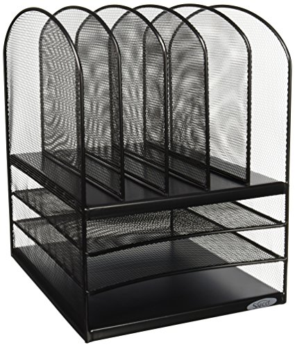 Safco Products 3266BL Onyx Mesh Desktop Organizer with 5 Vertical/3 Horizontal Sections, (Safco Onyx)