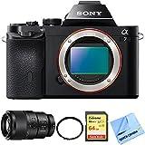 Sony a7 Full-Frame Interchangeable Lens Digital Camera Body with Sony FE 90mm F2.8 Macro G OSS Full-frame E-mount Macro Lens, High Speed 64GB Class 10 Card, UV Filter and Micro Fiber Cloth