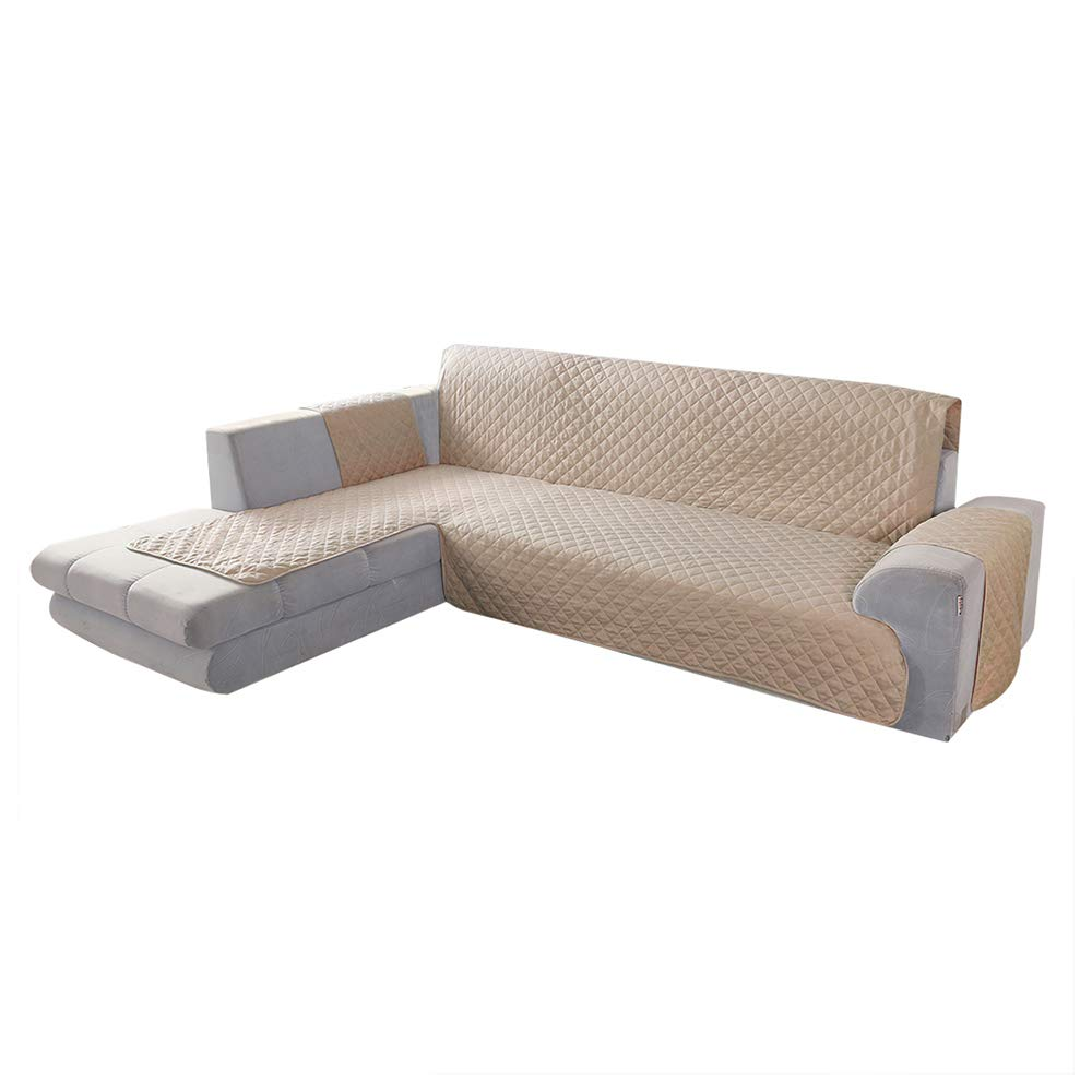 Comficent Funda Cubre Chaise Longue Modelo,Protector para Sofás Acolchado (Beige, Brazo Izquierdo-200cm)