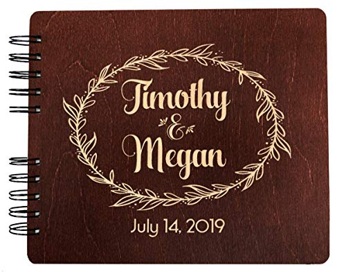 Book Guest Engraved (Weddings-by-StockingFactory Custom Couples Wreathe Handmade (11x8.5 or 8.5