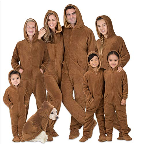 Footed Pajamas - Family Matching Chocolate Brown Hoodie Onesies for Boys, Girls, Men, Women and Pets (Infant - XLarge (Fits 12-18mos.))