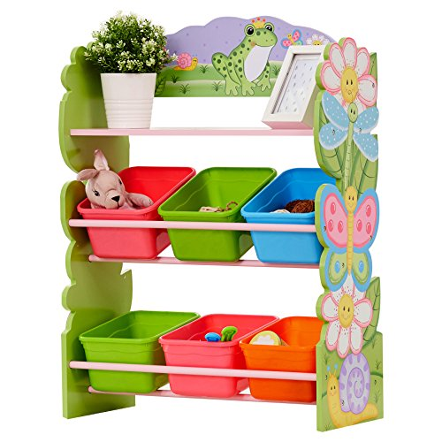 Magic Colorful - Fantasy Fields - Magic Garden Kids' Toy Organizer with 6 Storage Bins, Pink