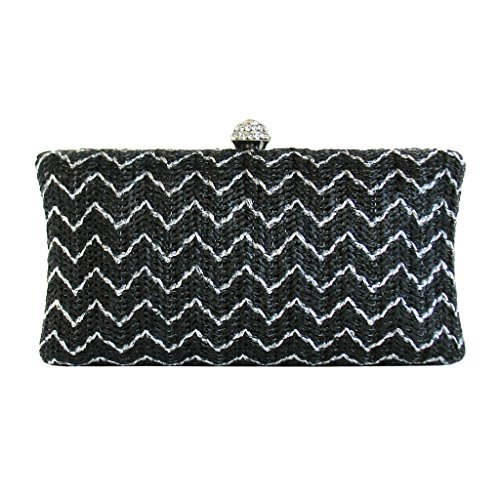jnb-womens-metallic-straw-chevron-box-clutch-black
