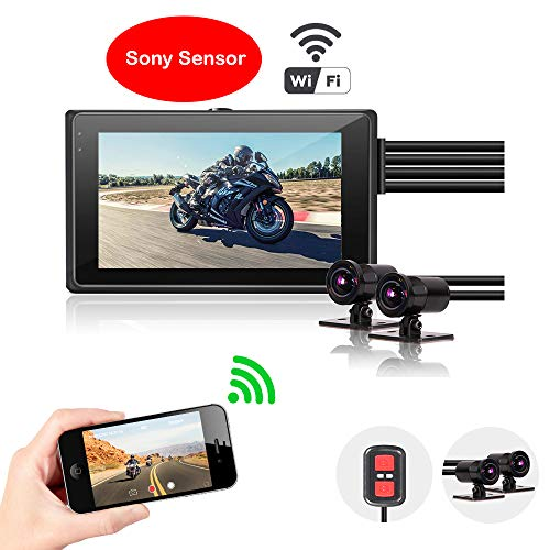 Motorcycle Dash Camera VSYSTO M2D, Front and Rear Motorbike Recorder,1080P+720P Dual Lens Dash Cam Dvr,WiFi, 3'' LCD, 140° Wide Angle,6 Full Glass Waterproof Lens Driving Video Recorder
