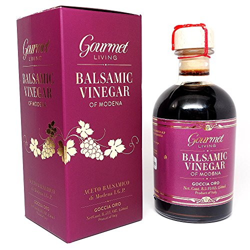 Gourmet Living Balsamic Vinegar of Modena - 250 ml Barrel-aged Certified IGP and Estate Bottled in Italy - Best with Parmesan Cheese, Salads, Fruits, Vinaigrettes, Glazes or Marinades
