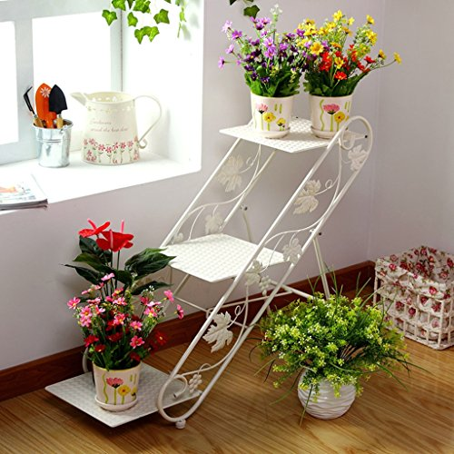 (ZGP @Plant stand Iron Flower Racks, Balcony Flower Pot Rack Living Room Landing Flower Racks Faceplate Shelf (Color : White))
