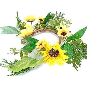 "Phoenix Silk Yellow Sunflowers Candle Ring 14"" Centerpiece 9913YL 93"