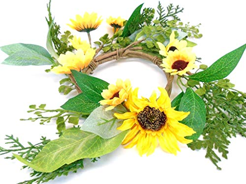 - Phoenix Silk Yellow Sunflowers Candle Ring 14