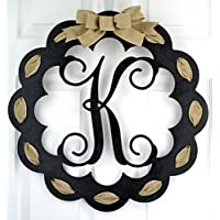 Monogrammed Door Hanger   Mom Gift   Black and Burlap Everyday Year Letter Door Hanger   MANY COLORS