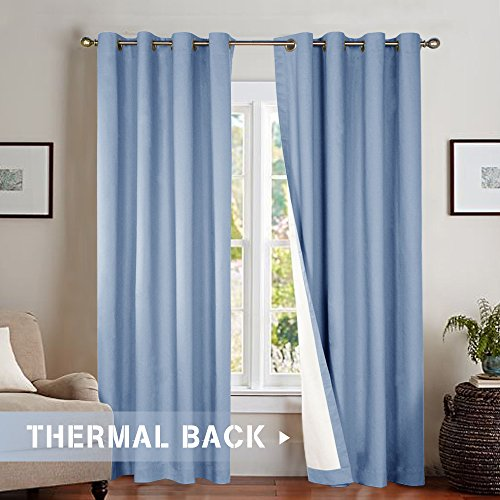 Bedroom Room Darkening Curtains, Energy Saving Lined Drapes for Living Room 84 Inch Length, Blue Window Curtain, Grommet Top, Sold Individually (Blue Shade Toile)