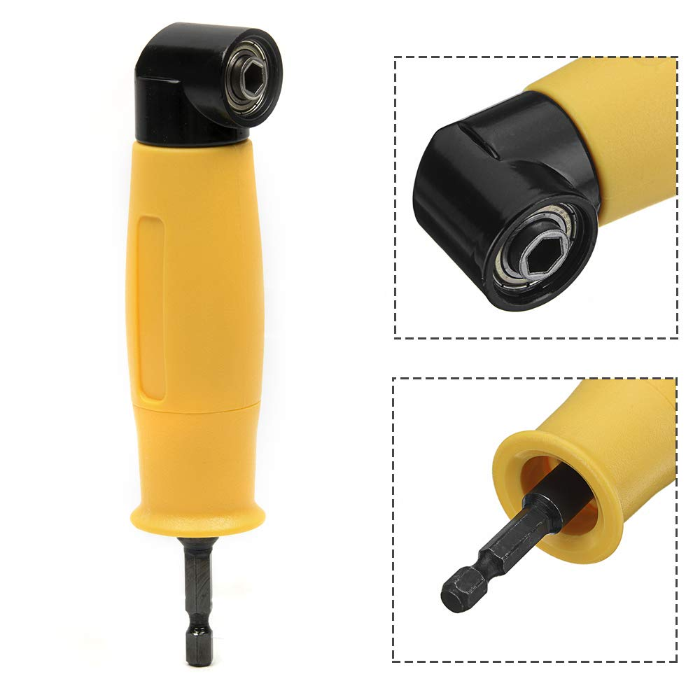 Muye 1//4 Hex Handle 90 Degree Angle Drill Chuck 90 Degree Screwdriver Right Universal Bit Corner Angle Metal Easily Locks And Releases Drill Bits