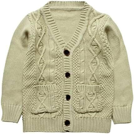 eTree Little Boys' 100% Cotton Knitting V Collar Cardigan Hemp Sweater 1-4 Years