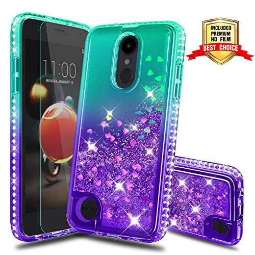 LG Aristo 2 Case, for LG Aristo 2 Plus/Zone 4 /Tribute Dynasty/Phoenix 4/Fortune 2/Rebel 4 LTE/Risio 3/K8+/K8 Plus Phone Case, with Screen Protector Glitter Liquid Cover for LG K8 2018 Green/Purple