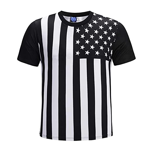 0767508a22 Pervobs Mens Loose Holiday 3D American Flag Printed Short-Sleeved Stripes  Stretchy T-Shirts Tops Tee Blouse | Amazon.com