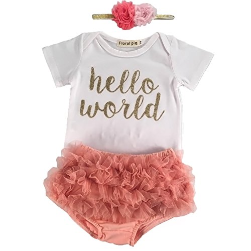 Newborn Infant Baby Girls Hello World Clothing 3pcs Romper Clothes+Gauze pants+Flower Headband (70/0-6Month)