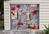Banner Christmas Single Garage Door Covers Billboard Decorations of House Garage Merry Christmas Full Color Door Decor 3D Effect Print Mural Banner Holiday Decor Garage Door Size 83 x 96 inches DAV113