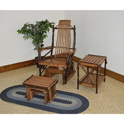 A & L Furniture Co. Amish Bentwood 7-Slat Hickory Rocking Chair with Foot Stool and End Table Set - Ships Free in 5-7 Business ()
