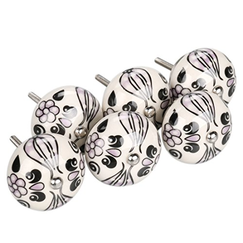 uxcell 6 Pieces Vintage Shabby Knobs Purple and White Floral Hand Painted Ceramic Pumpkin Cupboard Wardrobe Cabinet Drawer Door Handles Pulls Knob, Purple Tillandsia