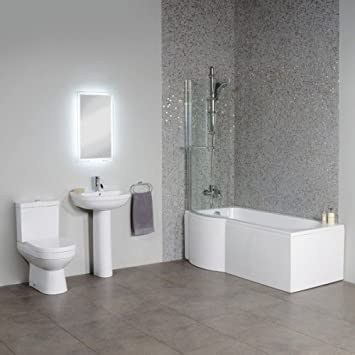 Bathroom Suite Complete Package Bath Toilet Basin White Amazon Co