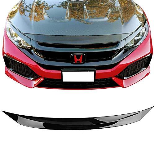 Front Hood Bonnet Lip Fits 2016-2018 Honda Civic | Glossy Black Bumper Bonnet Lip Guards Cover Vent By IKON MOTORSPORTS | ()