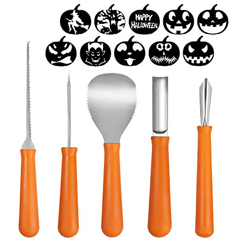Petift Halloween Pumpkin Carving Tool Kit,5 Pieces,Heavy Duty Stainless Steel Tool for Halloween (Plus 10 Pumpkin Carving Pattern),Easily Carve Sculpt Halloween Jack-O-Lanterns for DIY -
