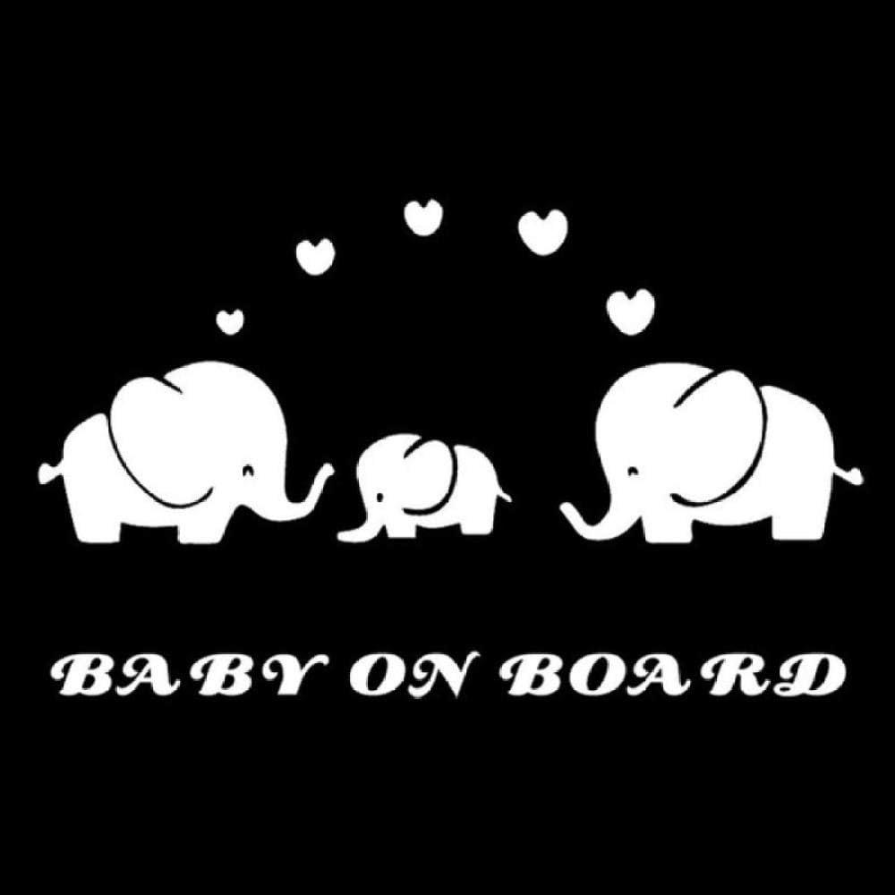 Zxdcd 17.9X10.7Cm B/éb/é Vinyle De Bande Dessin/ée /Él/éphant B/éb/é Baby /À Bord Avertissement Belle Voiture Autocollant Blanc