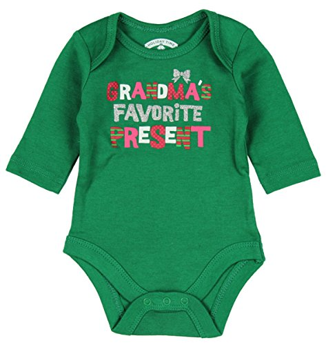 Topsville, Inc. Assorted Santa, Reindeer Baby Boys & Girls Christmas Bodysuit Dress up Outfit (6-9 Months, Grandma's Favorite Present)