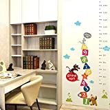 BIBITIME Cartoon Nursery Growth Charts Animal Dog Mouse Cat Penguin Number Wall Decal Vinyl Quotes Sticker for Kids Room Classroom Height Chart (Minimum scale: 50cm; Max:170 cm)