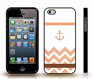 iStar Cases? iPhone 5/5S Case with Chevron Pattern Salmon Pink/ Sienna Stripe and Pink Anchor , Snap-on Cover, Hard Carrying Case (Black)