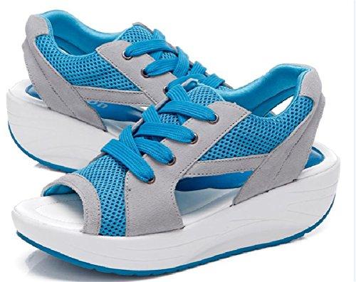 Ace Shock Vrouwen Platform Peep Toe Wiggen Water Schoenen Casual Atletische Sandalen Blauw