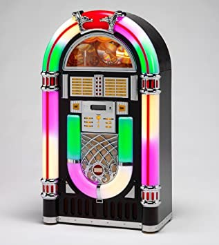 WURLITZER STYLE JUKEBOX - 10 CD + RADIO + LED lit (Dark Wood Colour) -  Steepletone CD Rock 10 Jukebox - For Digitel Technology